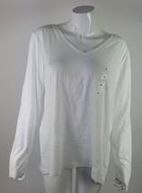 Sonoma Womens Size Xlarge White V Neckline Long Sleeve 100% Cotton Shirt NWOT - $13.09