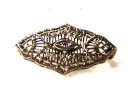 Edwardian / Art Deco Sterling Silver & Amythest Filigree Brooch Unbrande... - $54.44