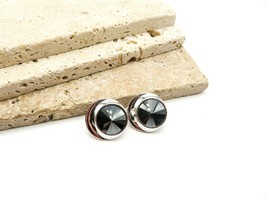 Vintage Sarah Coventry Hematite Silver Tone Mod Clip On Earrings E65 - $15.99