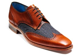 Men Two Toned Formal Shoes, Men Leather And Tweed Fabric Dress Shoes Formal - $159.99+