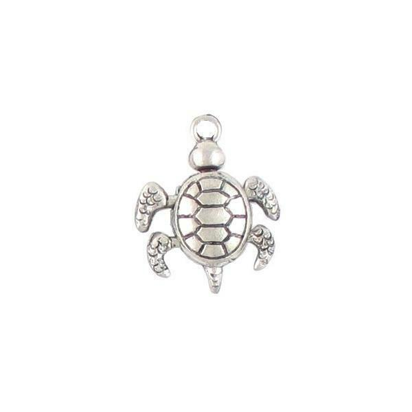 WIGGLY TURTLE FINE PEWTER CHARM - 17x21x5mm