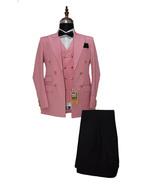 Men Pink And Black Three Piece Suits Designer Party Wear Dinner Wedding ... - $189.99
