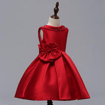 Red Satin Pricess Flower Girl Dress 2019 Cheap Ball Gown Wedding Kid Party Gowns image 6
