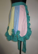 Sexy Vtg 1940s Homemade Green and Pastel MultiColor Short Ruffled Tie Ba... - $29.69
