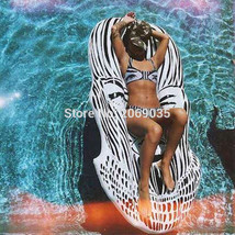 Giant Face Inflatable Pool Float Mat Lounger Classice Black White Mask S... - €41,14 EUR