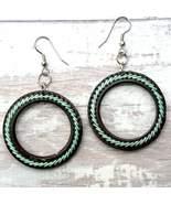 Aqua Threaded Hoop Earrings - $23.00