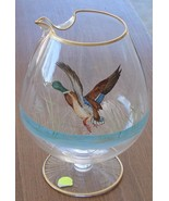 Vintage Over Sized Snifter Pitcher - Pinch Spout - Painted Woodland Duck... - $24.74