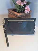 Coach 50812 Madison 2 Tone Python Embossed Clutch Black Wristlet Bag B21 - $77.39
