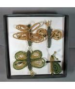 POTTERY BARN Beaded Garden Bugs Napkin Rings, Snail Butterfly Dragonfly etc - $21.49