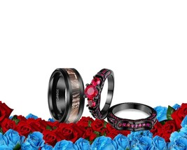 His Tungsten CAMO and Her CZ red black band Wedding bridal Engagement Ri... - $57.41