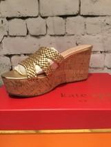 Kate Spade Nib Taravela Wedge Gold Leather Cork Sandle Shoe Slip On 8M - $99.00