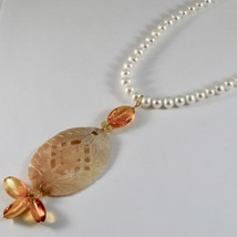Collier en or Jaune 18KT Avec Perles Blanches Nacre Perforé Et Ambre image 2