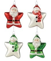 "Bethany Lowe Christmas ""Two Sided Santa Snowman Glass Star Ornaments"" Se... - $23.92 CAD"