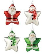 "Bethany Lowe Christmas ""Two Sided Santa Snowman Glass Star Ornaments"" Se... - $23.70 CAD"