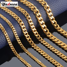 High Quality Width 3.5mm/ 5mm/7mm Stainless Steel Gold Cuban Chain Waterproof  M - $18.67