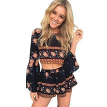Boho Bell Sleeve Floral Print Women Two Piece Romper - $35.00