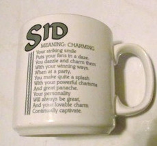 "SID Name Meaning ""CHARMING"" Poem byn Marci G. Coffee Collectible Name Mu... - $13.59"