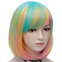Mildiso Bob Wigs Short Colorful Wig for Girls Women (Green (Blue Gold Pink) - $27.06
