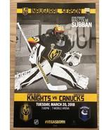 Vegas Golden Knights Vancouver Canucks Malcolm Subban Inaugural Season P... - $8.90
