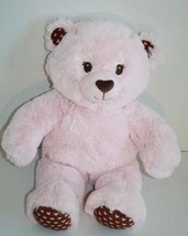 "Build A Bear Pink Teddy Bear 16"" Stuffed Plush Brown Stuffed Heart Feet ... - $13.49"
