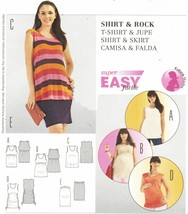 Misses Maternity Ruched Sides Tee Shirt Top Narrow Skirt Sew Pattern 10-22 - $11.99