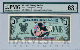 1987 Disney Dollar - First Day Issue First Year Issue - Pmg 63 Epq - Choice Unc - $149.99