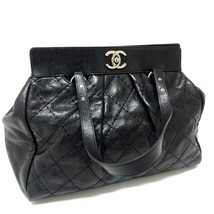 AUTHENTIC CHANEL CC On The Road Quilted Leather Tote Bag Shoulder Bag Black - $1,580.00