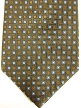 NEW Brooks Brothers Brown With Small Blue and Gold Squares Silk Tie USA - $37.49