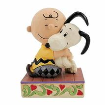 "Jim Shore Peanuts 6007936 Charlie Brown Hugging Snoopy Figurine 4.5"" H - £32.05 GBP"