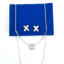 Avon NR Signed Silvertone X Shape Clear Rhinestone Necklace And Earring Set - $14.54