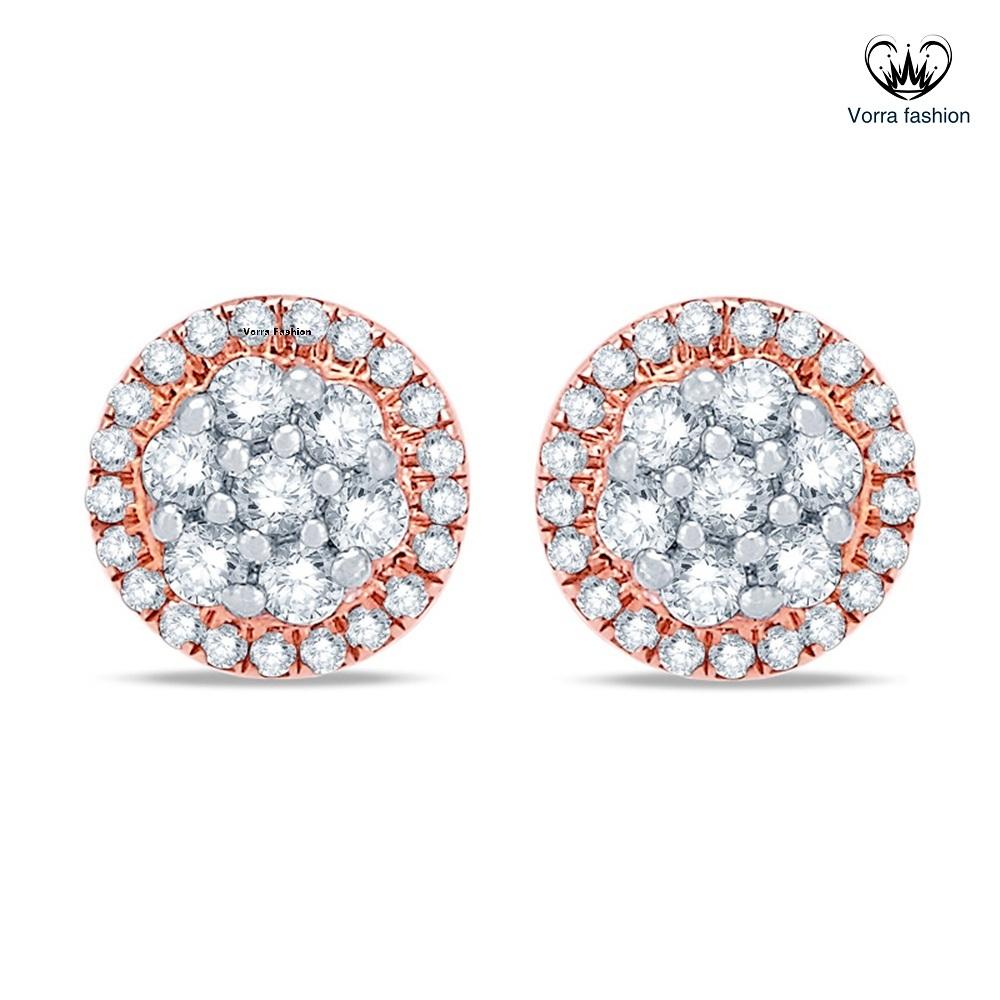 White Diamond Cluster Flower Stud Earrings Rose Gold Plated 925 Sterling Silver