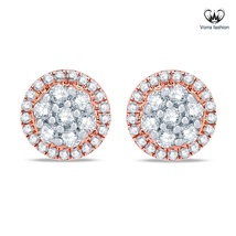 White Diamond Cluster Flower Stud Earrings Rose Gold Plated 925 Sterling Silver - $43.99