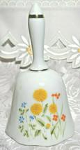 Ceramic Flower White Bell  Japan / Vintage Porcelain Bell