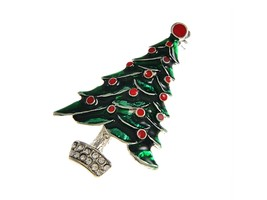Silvertone Christmas Tree Pin Brooch - $10.95