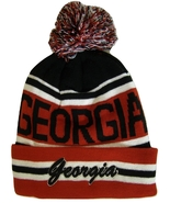 Georgia Adult Size Striped Winter Knit Beanie Hats (Red/Black Embroidered) - $11.95