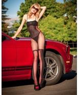 Sheer Bodystocking Open Crotch in White Red Cross/Corset Selebritee BnG153 - $14.84
