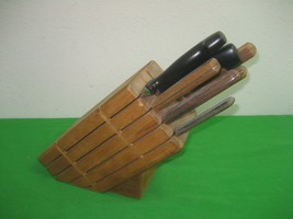 Vintage New Frontier Wood Knife Block Holder Knife Set with Eight (8) Kn... - $65.41