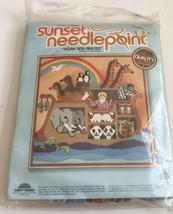 "Noah & Friends Needlepoint Kit Sunset 16"" x 16"" Wayne Maurer 1978 Vintage Sealed - $46.74"
