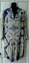 The Odells Boca Grande Anthropologie Navy Blue Cream Tie Dye Summer Dress M - $58.00