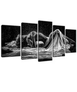 sechars - Sexy Woman Canvas Wall Art Black and White Art Woman Girl in R... - $58.55