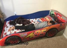 Wood Toddler Bed McQueen Race Car Safety Rails Red Kids Bedroom Disney Pixar - $117.49
