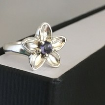 Tiffany & Co Silver Purple Blue Lolite iolite Gem Nature Flower Ring Size 5 - $149.00
