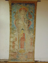 RARE ANTIQUE CHINESE PALATIAL SIZE HAND PAINTED WALL HANGING OF BUDDHA O... - $25,000.00