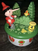 Reuge ~ Vtg Wind Up Wooden Swiss Musical Movement Box Round Christmas Trees - $84.14