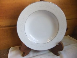 "Florence by Sango 8 1/2"" Rimmed Soup Bowls White With Gray Scrolls - $8.59"