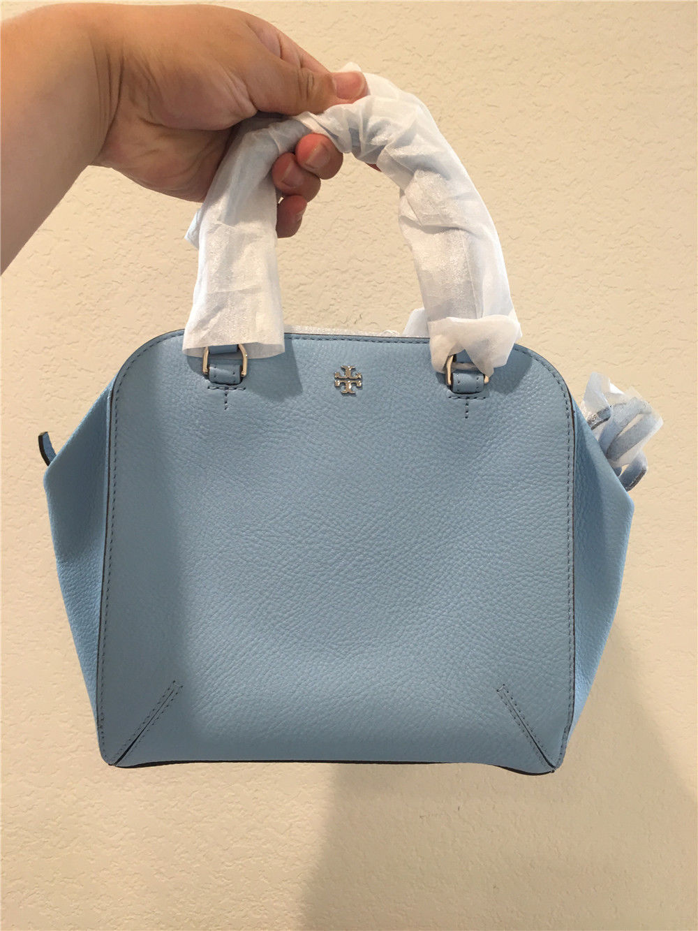 cc1330dccdc 57. 57. TORY BURCH Robinson Pebbled Mini Satchel in Riviera Blue leather bag  12169733 · TORY ...