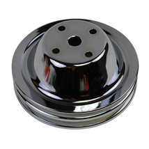 Long Water Pump Pulley LWP Double-Groove For Small Block Chevy SBC 262 327 400 image 2