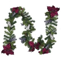 6' x 10' Two-Tone Pine with Purple Poinsettias Berries and Pine Cones Ch... - $51.59