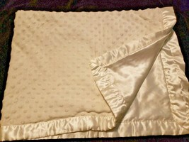 Starting Out Baby Blanket Solid White Minky Dot Bumps Satin Back Trim - $24.73