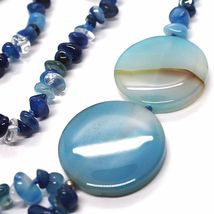 Long Necklace 90 cm, Agate Blue Banded Disco Big, Double Thread image 4